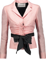 Valentino Ruched silk-crepe blazer
