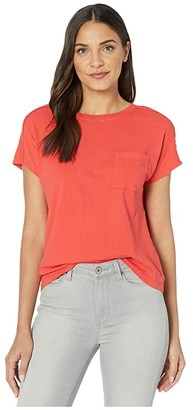 Michael Stars Shiloh Vintage Jersey Extended Shoulder Pocket Tee (Geranium) Women's Clothing