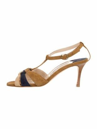 Manolo Blahnik Suede Ankle Strap Sandals Tan