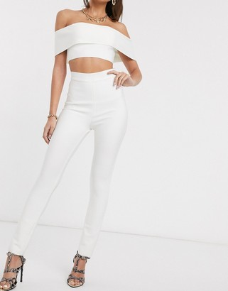 Band Of Stars bandage skinny trouser in white