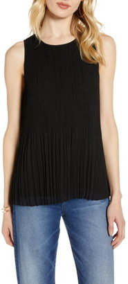 Halogen Sleeveless Pleated Georgette Top