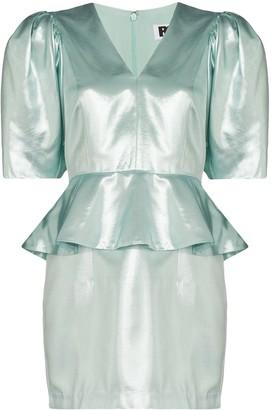 Rotate by Birger Christensen Mindy metallic peplum dress