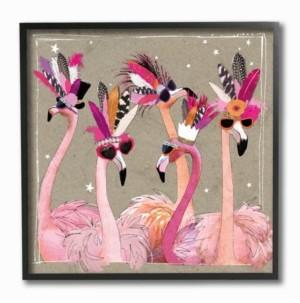 "Stupell Industries Fancy Pants Flamingos Framed Giclee Art 12"" L x 1.5"" W x 12"" H"