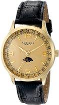 Akribos XXIV Men's AK637YG Retro Swiss Dial Gold-Tone Stainless Steel Black Leather Strap Watch