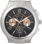 Philip Stein Teslar Large Classic Chronograph Watch Head, Silver/Black