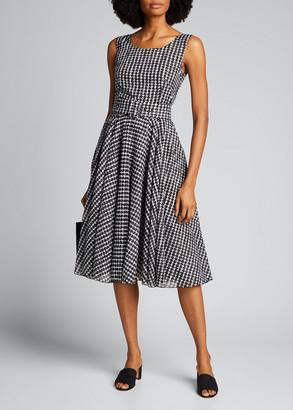 Samantha Sung Aster Vivier Check Cotton Musola Midi Dress
