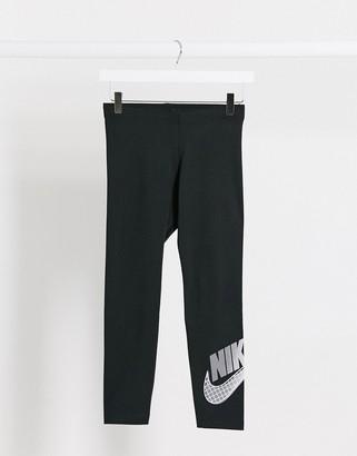 Nike black silver logo leggings in black