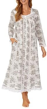 Eileen West Floral Print Long Cotton Robe