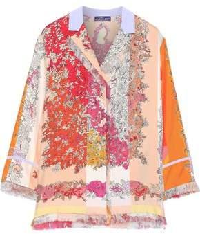 Emilio Pucci Fringe-trimmed Floral-print Silk-twill Shirt
