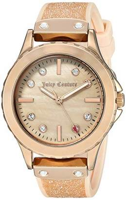 Juicy Couture Black Label Women's Swarovski Crystal Accented Blush and Gold-Tone Silicone Strap Watch