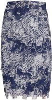 Gina Bacconi Navy off white fringe chiffon skirt