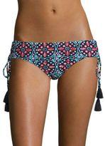 Michael Kors Shirred Medallion Print Bikini Bottom