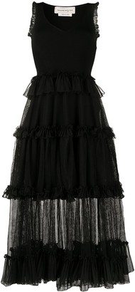 Alexander McQueen Sheer Frill Sleeveless Dress