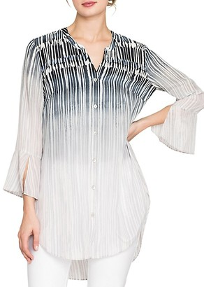 Nic+Zoe Horizon Printed Bell-Sleeve Tunic