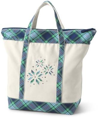 Lands' End Large Christmas Zipper Canvas Tote Bag