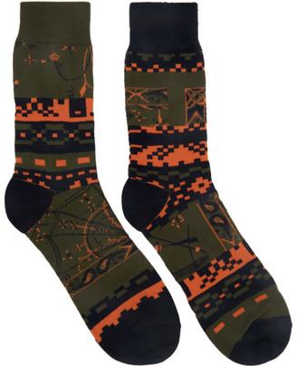 Sacai Khaki Dr. Woo Edition Cotton Socks