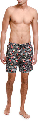 Dolce & Gabbana Men's Sailboats-Print Swim Trunks