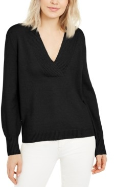INC International Concepts Inc Deep V-Neck Tunic Sweater, Created for Macy's