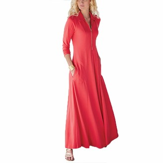 Hefyba Women's Casual Maxi Dress Solid Color V-neck Zipper Up Pullover Blouse Dress Long Sleeve Bohemian Long Dress with Pocket Slim Fit Ankle-length Dress