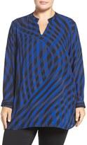 Vince Camuto Plus Size Women's 'Swept Check' Print Split Neck Blouse