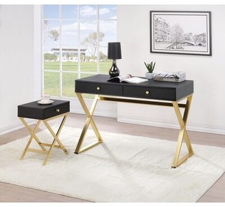 Everly Boonvile Desk with End Table Quinn Color: Black/Brass