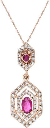 Diana M Fine Jewelry 14K Rose Gold 0.52 Ct. Tw. Diamond & Ruby Necklace