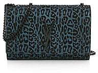 Saint Laurent Women's Small Kate Metallic Leopard-Print Suede Shoulder Bag