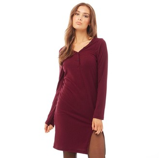 Brave Soul Womens Rena Ribbed Side Split Dress Burgundy