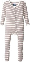 Kickee Pants Print Footie (Baby) - Feather/Natural Stripe - Newborn