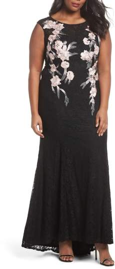 Decode 1.8 Floral Embroidered Lace Gown