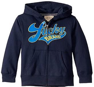 Lucky Brand Kids Script Full Zipper Hoodie (Little Kids/Big Kids) (Black Iris) Boy's Clothing