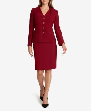 Tahari ASL Pintuck-Neckline Skirt Suit