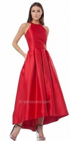 Carmen Marc Valvo High-Low Pleated Evening Gown