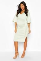 boohoo Maternity Angel Wing V-neck Midi Dress