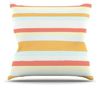 Nika East Urban Home Sand Stripes by Martinez Outdoor Throw Pillow East Urban Home