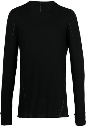 Masnada long sleeved contrast stitch T-shirt