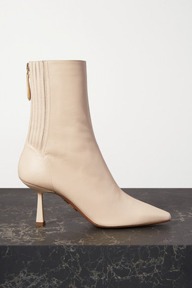 Aquazzura Curzon 75 Leather Ankle Boots - Off-white