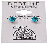 Crystallite Destine Blue Zicon Diamond Cut Earrings