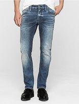 Calvin Klein Mens Sculpted Uneven Blue Slim Jeans
