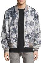 Maison Margiela Jungle-Print Silk-Cotton Bomber Jacket, Gray/Multi