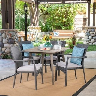 Christopher Knight Home Marias Outdoor 5 Piece Wood and Wicker Dining Set