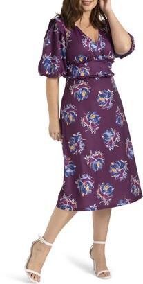 ELOQUII Floral Print Puff Sleeve Midi Dress