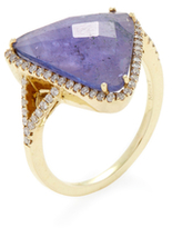 Meira T 14K Yellow Gold, Tanzanite & 0.30 Total Ct. Pave Diamond Triangle Ring