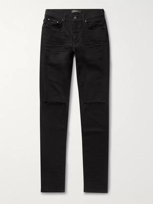 Amiri Slash Skinny-Fit Distressed Stretch-Denim Jeans