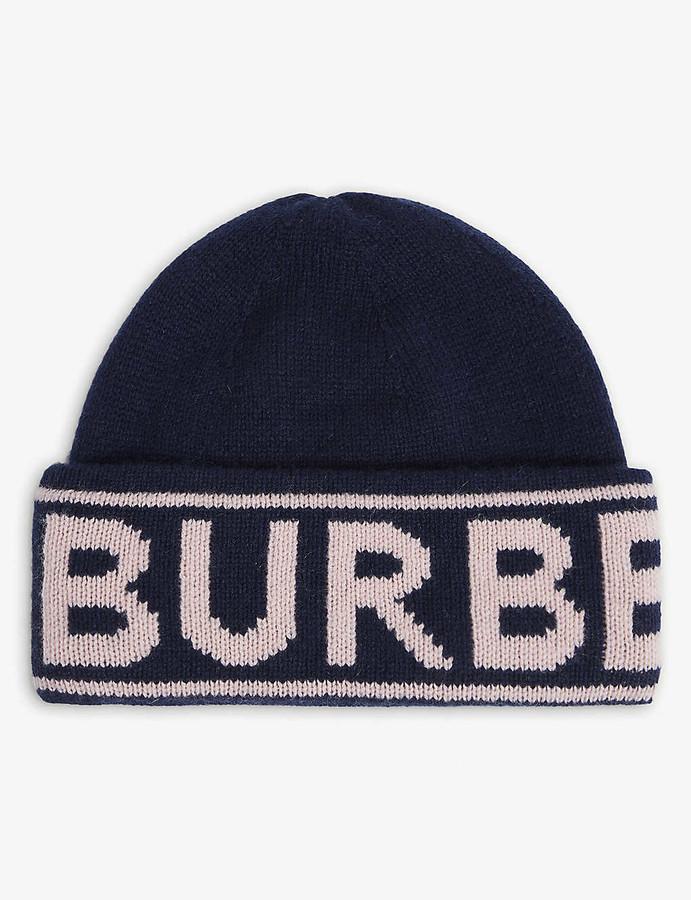 Burberry Logo-pattern cashmere beanie hat