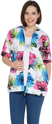 Quacker Factory Floral Printed Jacket and Tank with Rhinestones Set