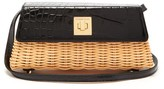 Sparrows Weave - The Clutch Wicker And Leather Cross-body Bag - Womens - Black