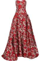 Carolina Herrera Strapless Pleated Brocade Gown