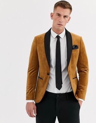 Moss Bros velvet skinny blazer in camel-Tan