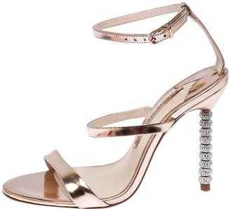 Sophia Webster Metallic Leather Rosalind Crystal Embellished Ankle Strap Sandals Size 36